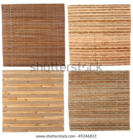 Four natural bamboo background isolated on white - stock photo