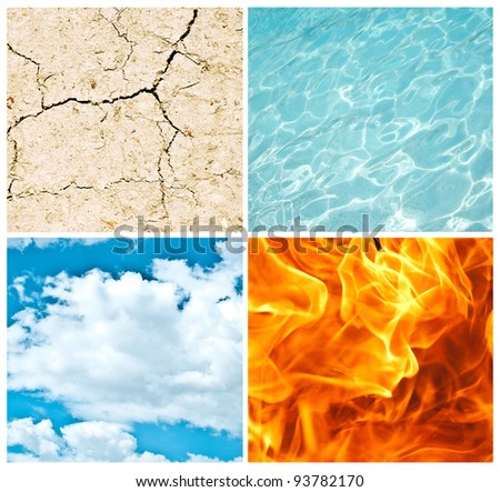 Four nature elements collage - stock photo