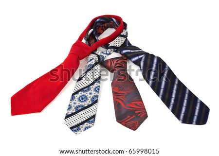 Four necktie isolated on white background - stock photo