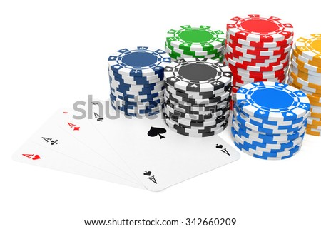 Four of a Kind and Gambling Chips. Isolated On White. 3D rendering