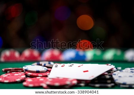 Four of a Kind with Casino Chips  - stock photo