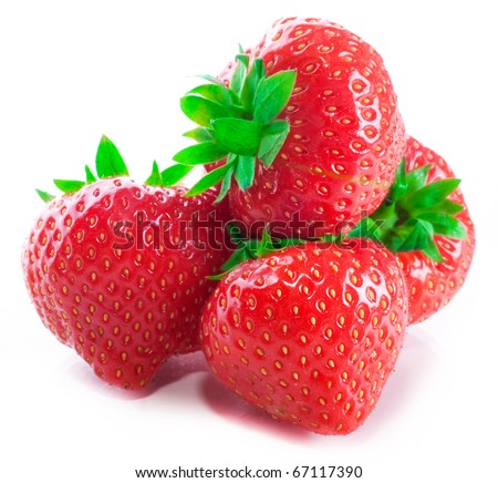 Four of red fresh strawberries with green tails with reflection and shades isolated on a white background - stock photo