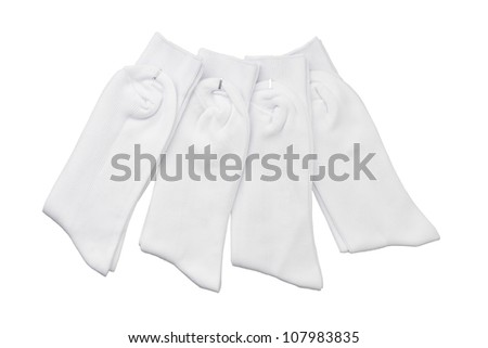 Four of white socks for students - stock photo