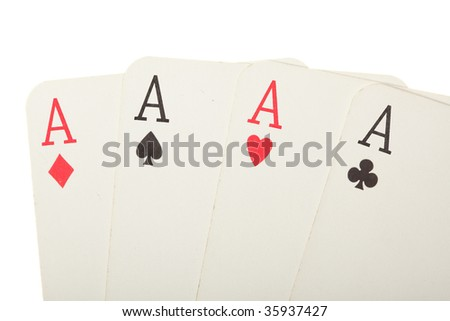 Four old cards (aces) close up