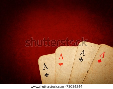 Four old cards (aces) close up - stock photo
