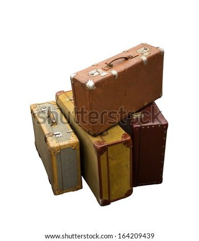Four old suitcases - stock photo