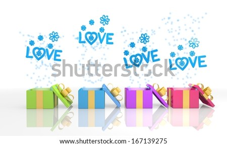 four on white background isolated 3d rendered gift boxes with birthday love icon coming out of it - stock photo