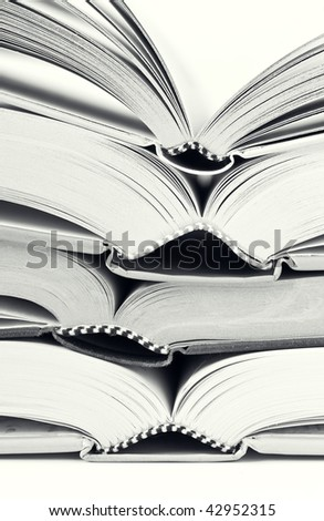 Four open books in black and white - stock photo