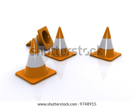 four orange traffic cones one knocked over indicating construction