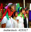 Four Padaung Tribe Ladies, Loikaw, Myanmar (Burma) - stock photo