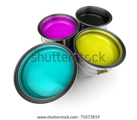 Four paint buckets filled with CMYK colors - stock photo