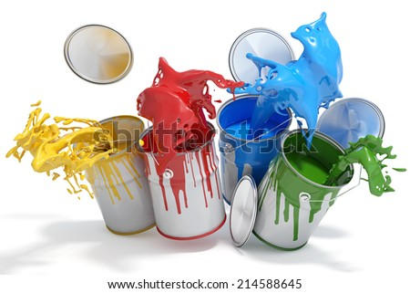 Four paint cans splashing different bright colors - stock photo