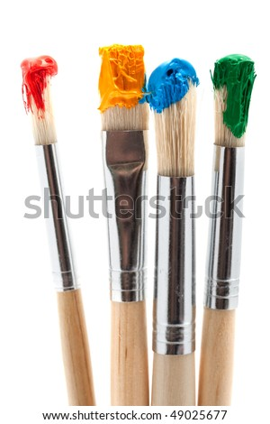 four paintbrush with color - stock photo