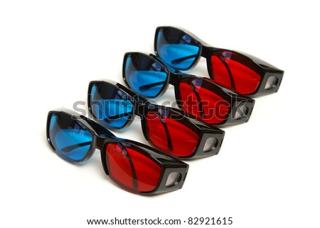 Four pair of sleek 3D glasses isolated on white.