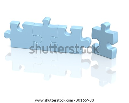 Four parts of a puzzle. Objects over white