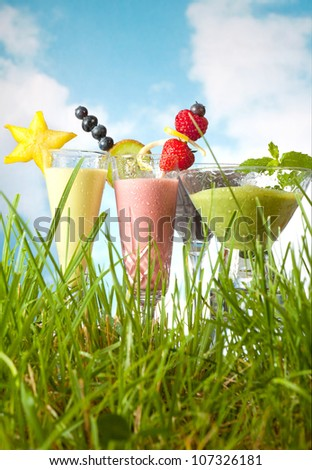 Four pastel colored fruit smoothies in green grass - stock photo