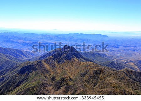 Four Peaks Wilderness Area from above looking north to south - stock photo