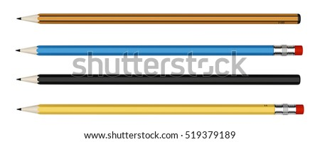 four pencils isolated on white background. 3d illustration