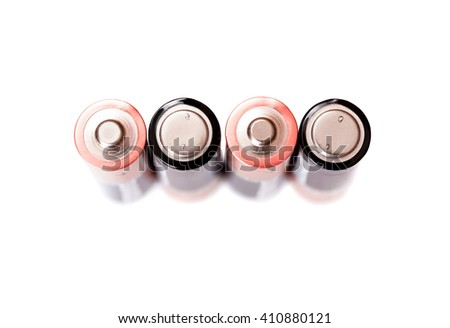 Four penlight batteries isolated on white background, top view - stock photo