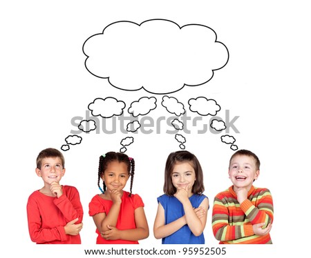 Four pensive children isolated on white background
