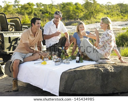 Four people enjoying picnic on rock with trees in background - stock photo