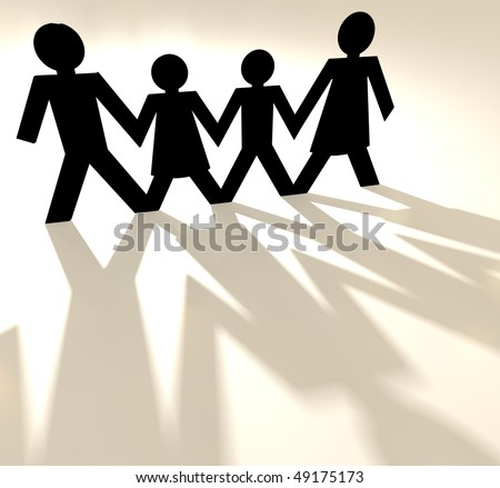 Four people family group holding hands as paper cut out - stock photo