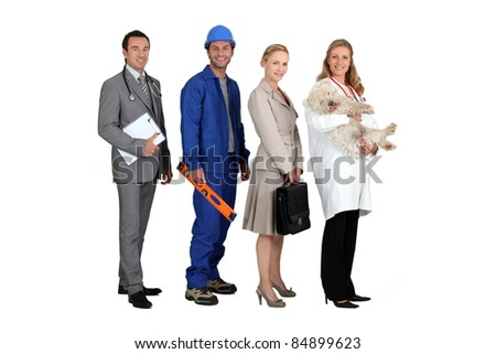 Four people from different professions - stock photo