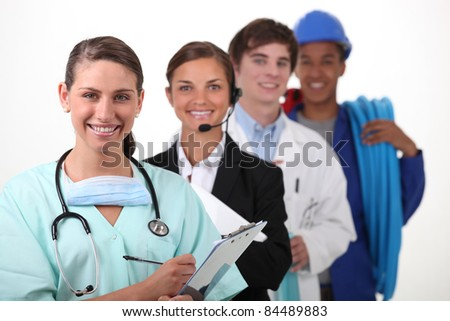Four people from different  work sectors - stock photo