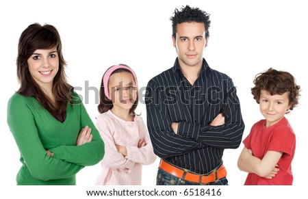 Four people group over a white background