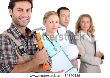 Four people illustrating different career options led by a handyman - stock photo