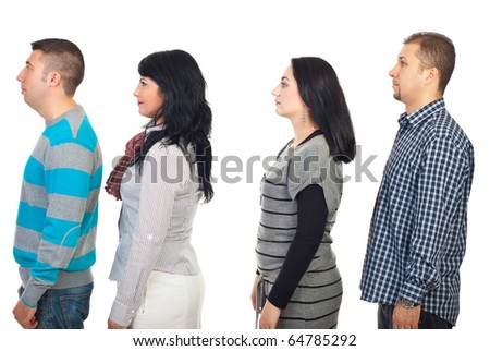 Four people standing in profile and looking away isolated on white background - stock photo