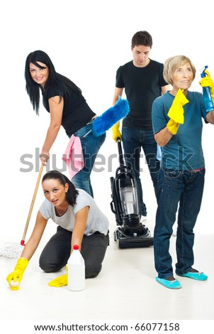 Four people teamwork working in a house and using cleaning products - stock photo