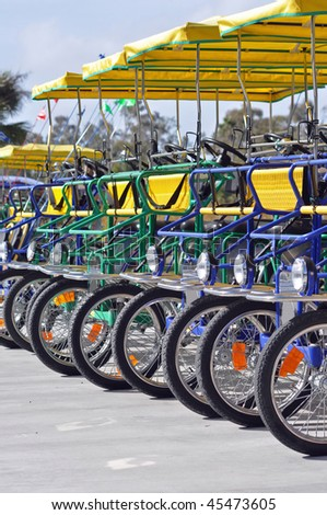 four person bicycle carts - stock photo