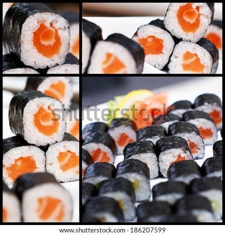 Four photos of salmon sushi - stock photo