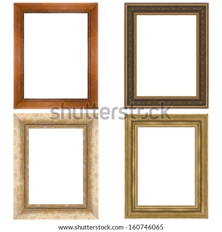 Four picture frames isolated on white background. - stock photo