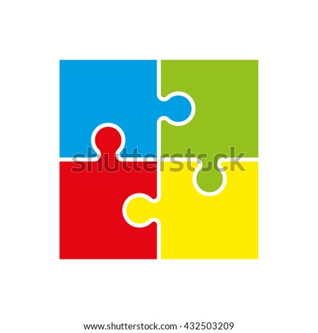 Four piece puzzle business presentation. Circle infograph. 4 step process diagram. Four section compare banner. Square schedule diagram - stock photo