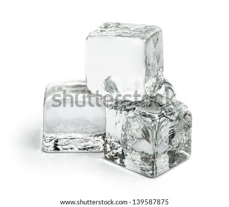four pieces of ice cubes on white with clipping path - stock photo