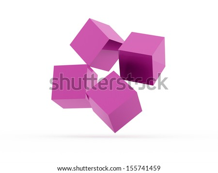 Four pink cubes rendered isolated on white  - stock photo
