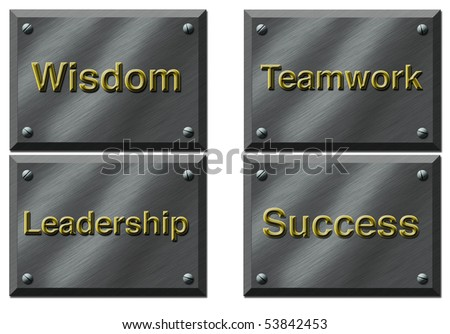 Four Plaques specifying values - stock photo