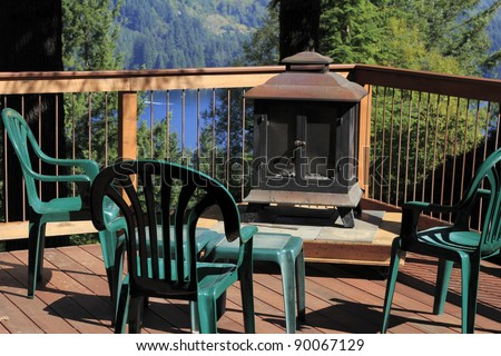 Deck railing stock images royalty free images vectors for Fireplace on raised deck