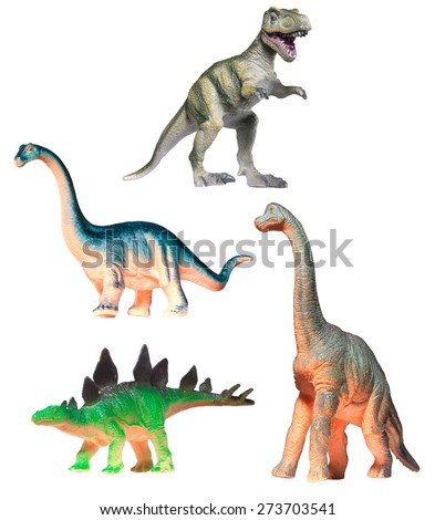 Four Plastic Dinosaur Toys Isolated on White
