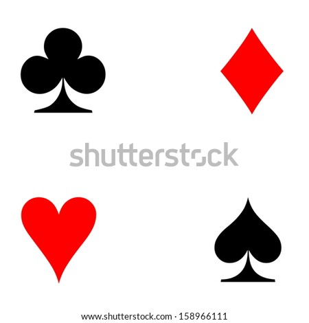 Four Playing Cards Signs On White Stock Illustration 158966111