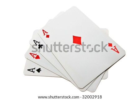 Four playing cards isolated over white - stock photo
