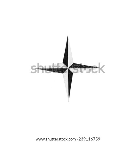 Four-pointed star in monochrome isolated over white background - stock photo
