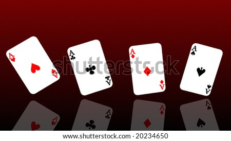 Four Poker aces rendered in 3d format