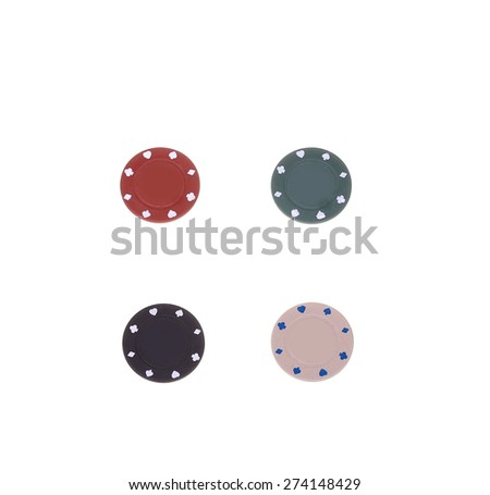four poker chips isolated on white background - stock photo