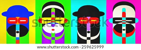 Four pop art people with colorful backgrounds in a row. - stock photo