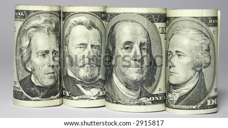 Four portraits on banknote like team in row - stock photo
