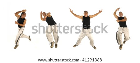 Four poses of young cheerful african american man jumping isolated - stock photo