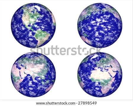 four position at the globe - stock photo